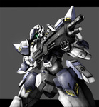 arbalest arm_slave_(mecha) full_metal_panic! glowing glowing_eyes gun jellyman mecha no_humans rifle simple_background solo weapon
