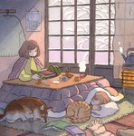 2girls animal bangs book brown_hair calendar_(object) cat closed_eyes clothes_hanger curtains dog food fruit green_eyes heikala highres indoors kettle kotatsu long_sleeves lying medium_hair multiple_girls no_nose on_side orange original pillow rug scissors sitting sleeping steam table window