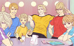 2girls 4boys barnaby_brooks_jr blonde_hair casual food hamburger huang_baoling ivan_karelin karina_lyle keith_goodman mamemo_(daifuku_mame) multiple_boys multiple_girls ryan_goldsmith salute shirt t-shirt tiger_&_bunny
