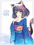 1girl :3 animal_ears bell black_hair blush bow cat_ears cat_tail commentary_request curly_hair cyan_(show_by_rock!!) fur_collar furisode green_eyes hair_ornament hairband hand_on_own_chest japanese_clothes jingle_bell kimono kotoyoro lolita_hairband long_hair mayachi_(amuriya) new_year obi paw_print ringlets sash show_by_rock!! sleeves_past_wrists smile solo tail tail_bell tail_bow
