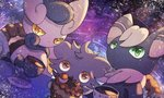 1boy 1girl 1other chair cup cupcake dutch_angle espurr food furry gen_6_pokemon green_eyes green_sclera hand_up holding meowstic meowstic_(female) meowstic_(male) no_humans no_mouth orange_eyes plate pokemon pokemon_(creature) purple_eyes purple_sclera sitting table tea tea_party teacup yellow_sclera yukifuri_tsuyu