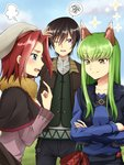 1boy 2girls animal_ears black_capelet black_pants blue_eyes blue_shirt brown_hair brown_scarf c.c. capelet code_geass collarbone cosplay craft_lawrence craft_lawrence_(cosplay) crossed_legs day eyebrows_visible_through_hair green_hair grey_hat grey_shirt hand_on_head highres holo holo_(cosplay) index_finger_raised kallen_stadtfeld lelouch_lamperouge long_hair multiple_girls one_eye_closed open_mouth outdoors pants purple_eyes purple_shirt red_hair scarf setu_kurokawa shiny shiny_hair shirt short_hair signature smile speech_bubble spice_and_wolf sweatdrop wolf_ears yellow_eyes