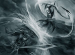 2girls battle blocking diana_(league_of_legends) league_of_legends leona_(league_of_legends) long_hair monochrome muju multiple_girls shield sketch sword weapon
