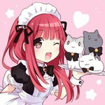 1girl ;d apron bangs blush bow brown_eyes cat company_connection heart long_hair looking_at_viewer lowres maid maid_apron maid_headdress one_eye_closed open_mouth real_life red_bow ribbon seiyuu simple_background smile solo tanaka_rie tsunako