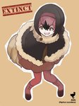1girl :d bangs bent_over bird_tail black_hair bob_cut boots brown_background brown_shirt brown_skirt buttons character_name dodo_(bird) dodo_(kemono_friends) empty_eyes eyebrows_visible_through_hair eyelashes feathers full_body fur_collar fur_trim hair_between_eyes highres kemono_friends leaning_forward looking_away meimushi miniskirt multicolored_hair open_mouth outline pantyhose pigeon-toed pink_footwear pink_hair pink_legwear poncho scientific_name shirt short_hair simple_background skirt smile solo standing tail teeth tongue two-tone_hair white_outline yellow_eyes