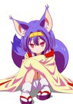 1girl animal_ear_fluff animal_ears bangs blue_hair blush closed_mouth eyebrows hair_between_eyes hairband hatsuse_izuna headband holding_legs japanese_clothes kimono lavender_hair looking_at_viewer no_game_no_life ooya_kouji red_eyes sandals simple_background sitting solo tail tail_raised white_background