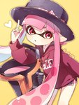 1girl bangs black_headwear black_shorts blunt_bangs bow clothes_writing commentary domino_mask drawstring gym_shorts hat hat_bow heart holding holding_weapon hood hoodie inkling inkling_(language) leaning_forward long_hair long_sleeves looking_at_viewer mask parted_lips pink_eyes pink_hair pointing pointing_up pointy_ears purple_shirt sen_squid shirt short_shorts shorts slosher_(splatoon) splatoon_(series) splatoon_1 standing tentacle_hair twitter_username weapon yellow_background