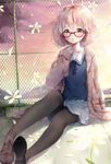 1girl :o bad_id bad_pixiv_id bangs black_legwear blush bob_cut brown_eyes brown_footwear cardigan cloud cloudy_sky dutch_angle evening eyebrows_visible_through_hair flower glasses grey_skirt kuriyama_mirai kyoukai_no_kanata lib long_legs open_cardigan open_clothes open_mouth outdoors pantyhose pink_hair red-framed_eyewear rooftop sailor_collar school_uniform shoes short_hair sitting skirt sky sleeves_past_wrists solo white_flower