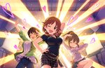 3girls artist_request breasts brown_hair card_(medium) cleavage closed_eyes earrings hand_on_hip heart hori_yuuko idolmaster idolmaster_cinderella_girls idolmaster_cinderella_girls_starlight_stage jewelry katagiri_sanae large_breasts lights low_twintails multiple_girls necklace official_art oikawa_shizuku one_eye_closed open_mouth skirt spoon sweater twintails