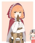 2girls :d animal_ears belt blouse brown_eyes chibi chibi_inset chirun0 commentary cosplay curly_hair doyagao eyebrows_visible_through_hair fire_emblem fire_emblem_echoes:_shadows_of_valentia fire_emblem_fates fire_emblem_heroes genny_(fire_emblem) gloves grey_hair hairband hand_on_own_chin highres hood laughing long_hair long_sleeves multicolored_hair multiple_girls naked_towel open_mouth orange_hair pink_background red_eyes short_hair simple_background smile smug solo_focus towel two-tone_hair velouria_(fire_emblem) velouria_(fire_emblem)_(cosplay) white_blouse wolf_ears