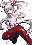 1girl >:( bangs black_footwear blush bow breasts clenched_hands eyebrows_visible_through_hair feet_out_of_frame fujiwara_no_mokou hair_bow highres knee_up long_hair long_ponytail looking_at_viewer medium_breasts ofuda paburisiyasu pants ponytail red_eyes red_pants shirt shoes short_sleeves silver_hair simple_background solo suspenders touhou v-shaped_eyebrows very_long_hair white_background white_bow white_shirt