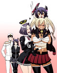 1boy 4girls admiral_(kantai_collection) arms_behind_back between_breasts black_gloves black_hair black_legwear blonde_hair boot_removed boots breasts budget_sarashi carrying_over_shoulder chiba_toshirou child contrapposto cowboy_shot dark_skin eyepatch glasses gloves gradient gradient_background grin hand_on_another's_shoulder hat heart holding holding_shoes huge_breasts if_they_mated kantai_collection large_breasts looking_at_another looking_at_viewer mechanical_halo midriff military military_uniform miniskirt multiple_girls musashi_(kantai_collection) older open_mouth peaked_cap piggyback pink_background pleated_skirt purple_hair red_skirt sarashi semi-rimless_glasses short_hair single_shoe skirt smile sword tatsuta_(kantai_collection) tenryuu_(kantai_collection) thighhighs translated twintails under-rim_glasses uniform weapon zettai_ryouiki