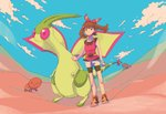 1girl absurdres bangs bike_shorts bike_shorts_under_shorts blue_sky brown_eyes brown_hair closed_mouth cloud collarbone day desert eyebrows_visible_through_hair fanny_pack flygon full_body gen_3_pokemon hair_between_eyes haruka_(pokemon) highres long_hair pokemon pokemon_(creature) pokemon_(game) pokemon_oras red_shirt shirt shoes shorts sky solo standing tanbo-san tank_top trapinch white_shorts
