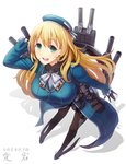 1girl atago_(kantai_collection) beret black_gloves black_legwear black_skirt blonde_hair blue_footwear blue_headwear blue_jacket blush breasts cannon character_name commentary_request eyebrows_visible_through_hair frilled_jacket frills from_above full_body gloves green_eyes hair_between_eyes hand_on_head hat high_heels highres itou_(onsoku_tassha) jacket kantai_collection large_breasts long_hair long_sleeves looking_at_viewer machinery military military_uniform neckerchief open_mouth pantyhose partial_commentary rigging shadow shirt simple_background skirt smile solo turret two-tone_neckwear uniform white_background white_neckwear white_shirt