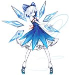1girl absurdres alternate_hair_color arm_garter blue_bow blue_dress blue_eyes blue_shoes bow cirno closed_mouth commentary_request dress full_body hair_bow highres ice ice_wings looking_at_viewer neck_ribbon pale_skin puffy_short_sleeves puffy_sleeves red_ribbon ribbon shoes short_sleeves silver_hair smile solo touhou white_background wings yutapon