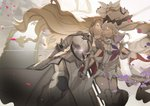 2girls armor bangs bare_shoulders boots closed_eyes dress facing_another fate/grand_order fate_(series) flag flower gauntlets gleam hair_flower hair_ornament headpiece holding_hands jeanne_d'arc_(fate) jeanne_d'arc_(fate)_(all) large_hat long_hair marie_antoinette_(fate/grand_order) multiple_girls no-kan pink_flower pink_rose rose smile sword thigh_boots thighhighs twintails very_long_hair weapon white_dress yuri
