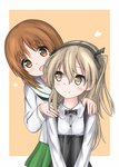 2girls :d bangs black_neckwear black_ribbon black_skirt blouse blush bow bowtie box brown_eyes brown_hair casual closed_mouth collared_shirt commentary eyebrows_visible_through_hair girls_und_panzer green_skirt hair_ribbon hands_on_another's_shoulders heart-shaped_box high-waist_skirt highres langley1000 light_brown_eyes light_brown_hair long_hair long_sleeves looking_at_another looking_at_viewer looking_back miniskirt multiple_girls neckerchief nishizumi_miho one_side_up ooarai_school_uniform open_mouth orange_background outside_border pleated_skirt ribbon school_uniform serafuku shimada_arisu shirt short_hair skirt smile standing suspender_skirt suspenders upper_body v_arms white_blouse white_shirt