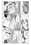 1boy 1girl brooch coat comic dress drill_hair earrings eyewear_on_head greyscale highres japanese_clothes jewelry kimono long_sleeves medium_hair monochrome ponytail scan short_twintails sunglasses touhou toujou_(toujou_ramen) translated twin_drills twintails two_side_up yorigami_jo'on