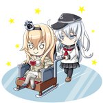 2girls anchor_symbol black_legwear black_skirt blonde_hair braid chibi commentary_request corset crown dress flat_cap flower french_braid hair_between_eyes hairband hat hibiki_(kantai_collection) highres jewelry kantai_collection lone_wolf_and_cub long_hair long_sleeves mini_crown multiple_girls neckerchief necklace off-shoulder_dress off_shoulder parody peaked_cap pleated_skirt red_flower red_ribbon red_rose ribbon rose school_uniform serafuku silver_hair skirt thighhighs tk8d32 warspite_(kantai_collection) white_dress