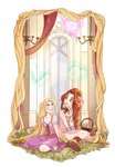 2girls absurdly_long_hair absurdres aerith_gainsborough bangle blonde_hair boots bracelet brown_hair chandelier commentary commission crossover disney dress english_commentary final_fantasy final_fantasy_vii flower flower_basket grass green_eyes hanging highres jewelry kingdom_hearts lifestream long_hair mandy_moore meteor multiple_girls neck_ribbon painting_(object) pascal_(tangled) ponytail rapunzel_(disney) ribbon seiyuu_connection signature skirtzzz tangled trait_connection very_long_hair