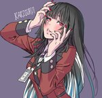 1girl bangs black_hair blunt_bangs blush breasts commentary_request eyelashes hands_on_own_face hime_cut jabami_yumeko jewelry kakegurui lips long_hair long_sleeves looking_at_viewer medium_breasts nail_polish necklace parted_lips purple_background red_eyes school_uniform sketch smile solo suit_jacket upper_body very_long_hair yamashita_shun'ya