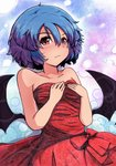 1girl abstract_background alternate_costume bare_arms bare_shoulders bat_wings blue_background blue_hair blush breasts commentary_request dress embarrassed gradient gradient_background hair_between_eyes hands_on_own_chest light_frown looking_at_viewer no_hat no_headwear purple_background red_dress remilia_scarlet short_hair small_breasts solo standing strapless strapless_dress sweatdrop touhou weather_(hamamurataka) wings
