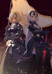 2girls armor armored_dress bangs banner bare_shoulders black_dress black_gloves black_legwear blonde_hair blue_dress blue_eyes blurry bracer braid breasts chain cleavage closed_mouth collarbone depth_of_field dress elbow_gloves eyebrows_visible_through_hair fate/apocrypha fate/grand_order fate_(series) faulds fur-trimmed_gloves fur-trimmed_legwear fur_trim gauntlets gloves grey_hair hair_between_eyes hand_on_hilt hand_on_shoulder headpiece highres holding jeanne_d'arc_(alter)_(fate) jeanne_d'arc_(fate) jeanne_d'arc_(fate)_(all) long_dress long_hair looking_at_viewer medium_breasts multiple_girls navel_cutout plackart planted_sword planted_weapon pre_(17194196) sheath sheathed single_braid sleeveless sleeveless_dress sparks standing sword thighhighs very_long_hair weapon yellow_eyes