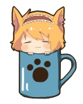 1girl :3 =_= alice_margatroid animal_ears bad_id bad_pixiv_id blonde_hair blush cat_ears cup hairband in_container in_cup kemonomimi_mode minigirl mug short_hair simple_background solo tirisousu touhou