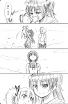 3girls child comic head_wreath if_they_mated mahou_shoujo_madoka_magica miki_sayaka monochrome multiple_girls parody sakura_kyouko shun_(rokudena-shi) tengen_toppa_gurren_lagann translated