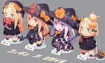 1girl abigail_williams_(fate/grand_order) albino alternate_costume bandaid_on_forehead black_dress blonde_hair blue_eyes bomber_jacket bow chibi comic commentary_request doll_hug dress english evil_smile fate/grand_order fate_(series) figure hair_bow hair_bun hat hat_bow jacket keyhole long_hair long_sleeves multiple_persona pekeko_(pepekekeko) red_eyes single_thighhigh sleeves_past_wrists smile streamers stuffed_animal stuffed_toy teddy_bear tentacles thighhighs thong translated white_hair witch_hat