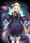 1girl abigail_williams_(fate/grand_order) absurdres artist_request bangs black_bow black_dress black_hat blonde_hair bow dress fate/grand_order fate_(series) forehead hair_bow hat highres long_hair looking_at_viewer open_mouth orange_bow parted_bangs pink_eyes polka_dot polka_dot_bow ribbed_dress sleeves_past_fingers sleeves_past_wrists smile solo tentacles white_bloomers