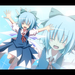 1girl blue_dress blue_hair blush bow cirno closed_eyes do_(4-rt) dress hair_bow letterboxed open_mouth outstretched_arms short_hair smile solo touhou wings