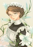 1girl apron brown_eyes brown_hair emma_(victorian_romance_emma) flower glasses hair_bun lily_(flower) maid maid_headdress mikazuki_akira! solo victorian victorian_romance_emma