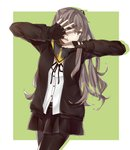 armband bangs belt black_eyes black_footwear black_gloves black_jacket black_legwear black_ribbon black_skirt brown_hair commentary_request covering_face faino fingerless_gloves girls_frontline gloves green_background grey_hair hair_ornament hair_over_shoulder hand_over_face highres jacket jojo_pose long_hair looking_at_viewer multicolored multicolored_eyes open_clothes open_jacket pose ribbon scarf shirt side_ponytail skirt smile ump45_(girls_frontline) white_shirt yellow_eyes yellow_scarf