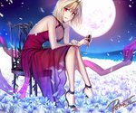 1girl arcueid_brunestud blonde_hair boots breasts cleavage cup dress flower from_side full_body full_moon grin halterneck high_heel_boots high_heels holding holding_cup large_breasts long_dress moon petals petra-ii red_dress red_eyes see-through short_hair sitting sleeveless sleeveless_dress smile solo tsukihime white_flower
