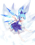 1girl arm_ribbon barefoot blue_dress blue_eyes blue_hair bow cirno dress hair_bow looking_at_viewer puffy_sleeves ribbon shihou_(g-o-s) shirt short_hair short_sleeves smile solo touhou wings