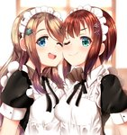 2girls ;) ;d alternate_costume apron ayase_arisa black_dress black_ribbon blue_eyes blurry blurry_background blush breasts brown_hair cheek-to-cheek collared_dress commentary_request depth_of_field dress enmaided green_eyes hair_ornament hairclip kousaka_yukiho long_hair love_live! love_live!_school_idol_project mad_(hazukiken) maid medium_breasts multiple_girls neck_ribbon one_eye_closed open_mouth puffy_short_sleeves puffy_sleeves ribbon short_sleeves smile upper_body upper_teeth very_long_hair white_apron window