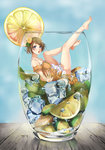1girl absurdres bad_id bad_pixiv_id bare_shoulders barefoot brown_hair bubble cup dress drink feet food fruit glasses hair_ornament highres ice in_container in_cup koizumi_hanayo legs legs_up lemon looking_at_viewer love_live! love_live!_school_idol_project minigirl purple_eyes short_hair solo yue_(hamiwxy)
