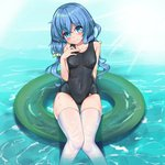 1girl afloat aiza-ku arm_behind_back bangs black_swimsuit blue_eyes blue_hair breasts cameltoe caustics chinese_commentary closed_mouth collarbone commentary_request covered_navel date_a_live day eyebrows_visible_through_hair feet_out_of_frame green_innertube hair_between_eyes hair_bobbles hair_ornament hand_on_own_chest head_tilt hip_focus innertube knees_together_feet_apart light_rays light_smile long_hair looking_at_viewer low_twintails one-piece_swimsuit outdoors parted_bangs school_swimsuit shiny shiny_hair sitting skin_tight skindentation small_breasts smile soaking_feet solo sunbeam sunlight swimsuit thigh_gap thighhighs thighs twintails water wavy_hair wet wet_clothes wet_swimsuit white_legwear yoshino_(date_a_live)