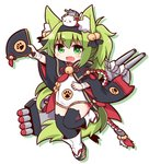 1girl :d animal_ears azur_lane bangs bell black_capelet black_hairband black_legwear black_ribbon blush capelet dress eyebrows eyebrows_visible_through_hair fan fang folding_fan fox_ears fox_tail full_body green_eyes green_hair hair_bell hair_between_eyes hair_ornament hair_ribbon hairband holding holding_fan isokaze_(azur_lane) jingle_bell leg_up long_hair long_sleeves looking_at_viewer machinery naga_u no_nose object_on_head open_mouth outstretched_arm paw_print ribbon short_dress silhouette simple_background smile solo tabi tail tassel thick_eyebrows thighhighs torpedo turret v-shaped_eyebrows white_background white_dress wide_sleeves x_x zettai_ryouiki