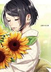 black_hair bob_cut closed_eyes flower smile solo suzunosuke_(sagula) vocaloid
