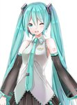 1girl ;d aqua_eyes aqua_hair aqua_neckwear arms_at_sides bangs bare_shoulders black_skirt blush breasts clothes_writing collared_shirt commentary_request copyright_name cowboy_shot detached_sleeves eyebrows_visible_through_hair grey_shirt hair_between_eyes hair_ornament hatsune_miku headset long_hair long_sleeves looking_at_viewer medium_breasts necktie one_eye_closed open_mouth pleated_skirt round_teeth see-through shiny shiny_hair shirt simple_background skirt smile solo teeth tsukiringo twintails upper_body very_long_hair vocaloid white_background wing_collar