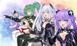 4girls ahoge aqua_eyes black_heart blanc blue_eyes blush bodysuit braid breasts choujigen_game_neptune cleavage excited gaijin_4koma green_hair green_heart grin long_hair multiple_girls neptune_(choujigen_game_neptune) neptune_(series) noire open_mouth pointing ponytail purple_eyes purple_hair purple_heart silver_hair sitting smile sxbzero thighhighs twin_braids twintails vert white_heart