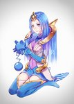 1girl azurill blue_eyes blue_gloves blue_hair blue_legwear blue_skirt boots breasts closed_mouth covered_navel elbow_gloves elementalist_lux full_body gen_3_pokemon gloves gradient gradient_background highres holding league_of_legends luxanna_crownguard medium_breasts miniskirt pokemon pokemon_(creature) seiza sitting skirt smile straight_hair text_focus thigh_boots thighhighs turtleneck water_elementalist_lux yuu_ko
