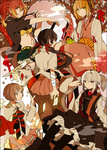 5girls akina422 ao_no_exorcist bad_id bad_pixiv_id bandages black_hair blonde_hair fox houjou_mamushi japanese_clothes kamiki_izumo kimono kirigakure_shura long_hair moriyama_shiemi multicolored_hair multiple_girls nii_(ao_no_exorcist) paku_noriko ponytail red_eyes red_hair short_hair snake sword tattoo twintails two-tone_hair weapon white_hair yellow_eyes