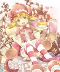1girl amitie_(puyopuyo) blonde_hair bow bracelet brown_dress cake candy candy_cane chocolate chocolate_bar commentary_request cream cream_on_face dress food food_on_face food_themed_hair_ornament fork frilled_dress frills fruit green_eyes hair_ornament hat heart heart-shaped_pupils heart_background holding holding_fork holding_plate horizontal-striped_legwear jewelry looking_at_viewer open_mouth pancake pink_bow plate puffy_short_sleeves puffy_sleeves puyopuyo rento_(rukeai) short_hair short_sleeves sitting smile solo star strawberry strawberry_hair_ornament striped striped_legwear sweet_amitie symbol-shaped_pupils thighhighs white_background