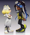 2girls absurdres arms_behind_back boots closed_eyes cosplay crossed_arms crown dark_skin emperor_(splatoon) emperor_(splatoon)_(cosplay) full_body goggle-kun_(splatoon) goggle-kun_(splatoon)_(cosplay) goggles goggles_around_neck gradient gradient_background headphones height_difference highres hime_(splatoon) iida_(splatoon) jacket long_hair looking_at_another multiple_girls octarian puchiman short_hair splatoon splatoon_(manga) splatoon_2 tentacle_hair white_hair yellow_eyes