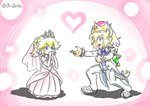 artist_name blonde_hair blue_eyes bowsette choker commentary_request covering_mouth dress earrings heart horns jewelry mario_(series) mimasato new_super_mario_bros._u_deluxe nintendo pink_background princess_peach proposal smile turtle_shell tuxedo wedding_dress yuri