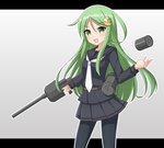 1girl black_serafuku commentary_request cowboy_shot crescent crescent_hair_ornament crescent_moon_pin depth_charge green_eyes green_hair gun hair_ornament highres kantai_collection long_hair looking_at_viewer nagatsuki_(kantai_collection) necktie open_mouth pantyhose rigging saratoga_(scharn) school_uniform serafuku smile solo standing turret weapon white_neckwear