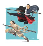 1boy 1girl angry battle blind chirrut crossover jumping matsuri6373 rey_(star_wars) rogue_one:_a_star_wars_story running science_fiction serious shouting signature sketch staff star_wars star_wars:_the_force_awakens time_paradox tunic